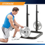 The Marcy Two-Piece Olympic Bench MD-879 has storage pegs to keep your weight plates nearby