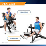 The Marcy Two-Piece Olympic Bench MD-879 in use - curls using curl handle and preacher curl pad and leg extensions using leg developer