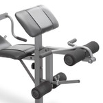 The Marcy Diamond Elite Standard Weight Bench MD-389 includes an adjustable preacher pad, Leg Developer, and Curl Handle