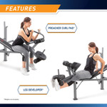 Complete preacher curls and leg extensions on the Marcy Diamond Elite Standard Weight Bench MD-389