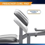 Adjust the height of the preacher curl pad on The Marcy Diamond Elite Standard Weight Bench MD-389 to your comfort