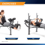 Complete leg extensions and butterflies on the Marcy Diamond Elite Standard Weight Bench MD-389