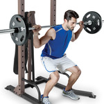 The Steelbody STB-98502 Power Tower with Foldable Bench in use - squats