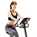 Model using the Regenerating Magnetic Upright Exercise Bike Marcy ME-702 - 2