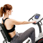 Model using the LCD computer display screen on the Regenerating Magnetic Recumbent Bike   Marcy ME-706