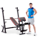 The Marcy Deluxe Olympic Weight Bench MKB-957 with model