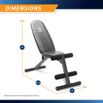 Best Workout Multi-Utility Weight Bench SB-10115 is 45 inches tall, 57.5 inches long, and 18 inches wide