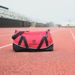 Travel in style with the Red Marcy Duffel Bag