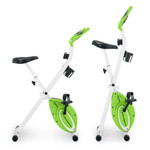 Marcy Foldable Upright Exercise Bike with Adjustable Resistance in Multiple Colors - NS-5926B - Folded and Unfolded- Green
