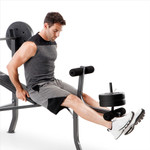 competitor pro 100lb standard bench CB-5573 with model using leg extension