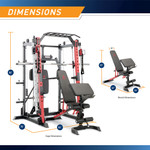 Marcy Smith Machine  Cage System with Pull-Up Bar and Landmine Station  SM-4033 - Dimensions
