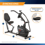 Marcypro Dual Action Cross Training Recumbent Exercise Bike with Arm Exercisers  Marcypro JX-7301 - Dimensions Infographics