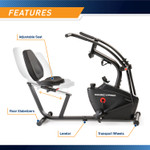 Marcypro Dual Action Cross Training Recumbent Exercise Bike with Arm Exercisers  Marcypro JX-7301 - Adjustable Seat Infographic