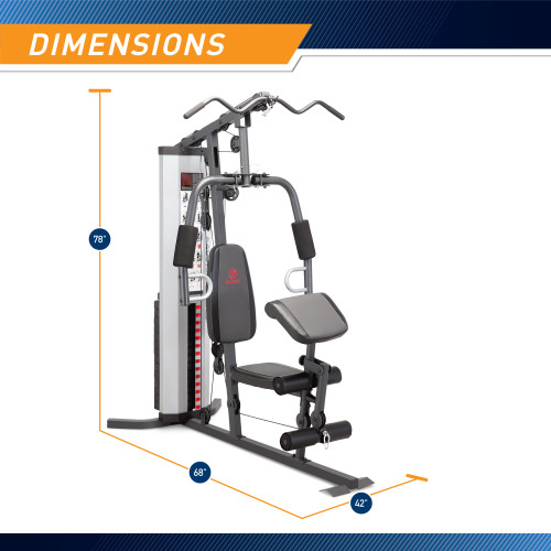 Marcy Home Gym System 150lb Weight Stack Machine  MWM-988 - Infographic - Dimensions