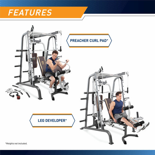 The MD-9010G Smith Machine Home Gym includes a preacher curl pad and a leg developer