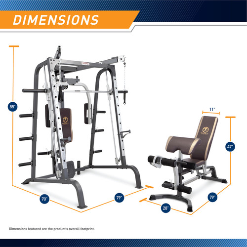 Best Home Gym by Marcy - MD-9010G - Smith Machine Cage and Weight Bench Dimensions