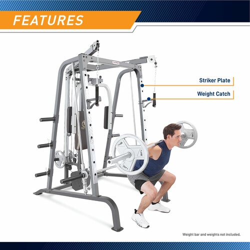 Utilize the Marcy MD-9010G Smith Machine Home Gym for Smith Machine Squats or Free Squats with an Olympic Bar (sold separately.)