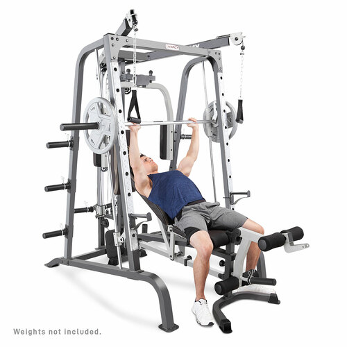 The Adjustable Weight Bench on the MD-9010G Smith Machine Home Gym Goes from decline, to flat, to incline