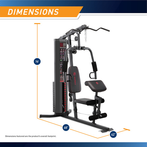 The Marcy 150 lb Stack Home Gym MWM-990 is 78 inches tall, 68 inches long, and 42 inches wide