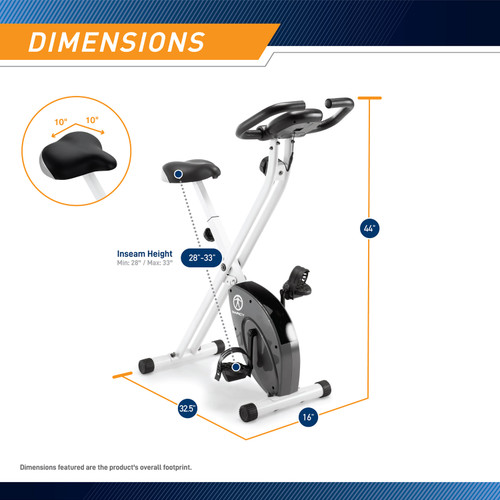 The Foldable Upright Bike Marcy NS-652 is 44 inches tall, 32.5 inches long, and 16 inches wide