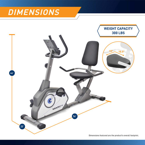 The Recumbent Bike NS-40502R by Marcy is 44 inches tall, 56 inches long, and 25 inches wide