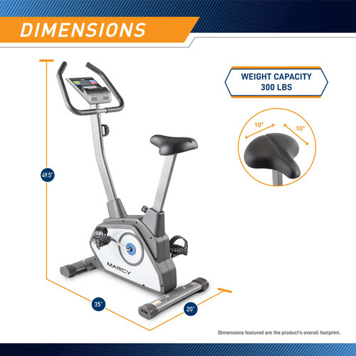 The Magnetic Upright Bike NS-40504U by Marcy  is 49.5 inches tall, 35 inches wide and 20 inches long