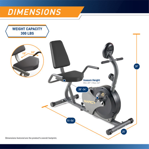 The Marcy Recumbent Magnetic Cycle NS-716R is 39 inches tall, 25 inches wide, and 56 inches long.