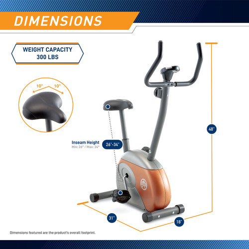 The Upright Exercise Bike ME-708 by Marcy  is 48 inches tall, 18 inches wide, and 31 inches long