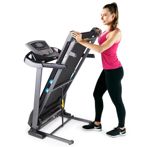 The Marcy Motorized Treadmill With Auto Incline JX-663SW folds for easy storage