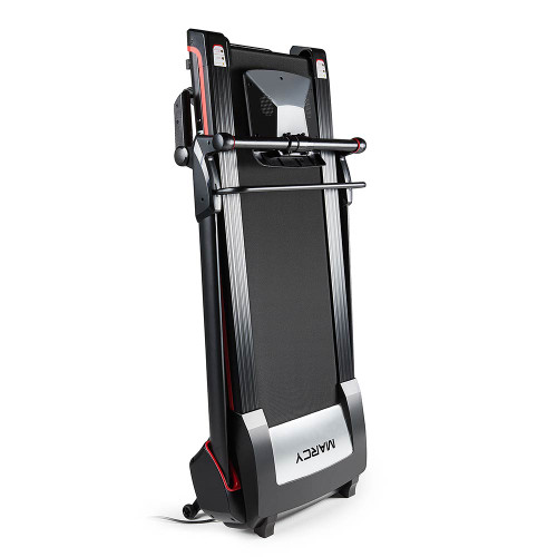 The Marcy Easy Folding Motorized Treadmill JX-651BW folds to save space
