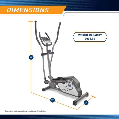 The Marcy NS-40501E Elliptical Trainer has a weight capacity of 300 pounds , is 64 inches tall, 51 inches wide, and 20.5 inches wide