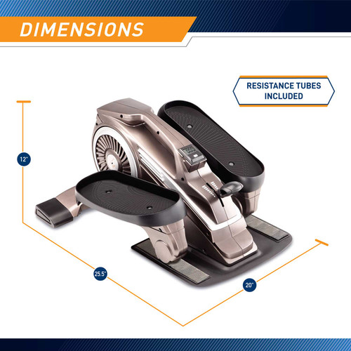 Bionic Body Compact Elliptical Trainer with Resistance Tubes is 12 inches tall, 21 inches wide, and 25.5 inches long.
