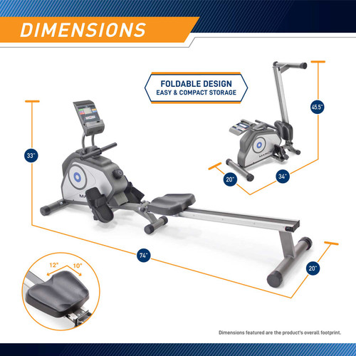 The Rowing Machine Marcy NS-40503RW is 33 inches tall, 74 inches long , and 20 inches wide
