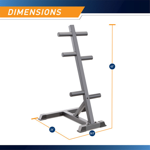 Marcy Olympic Weight Plate Tree PT-45 - Infographic - Dimensions