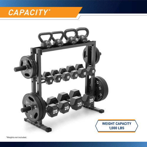The Marcy Combo Weights Storage Rack DBR-0117 has a 1,000 pound weight capacity