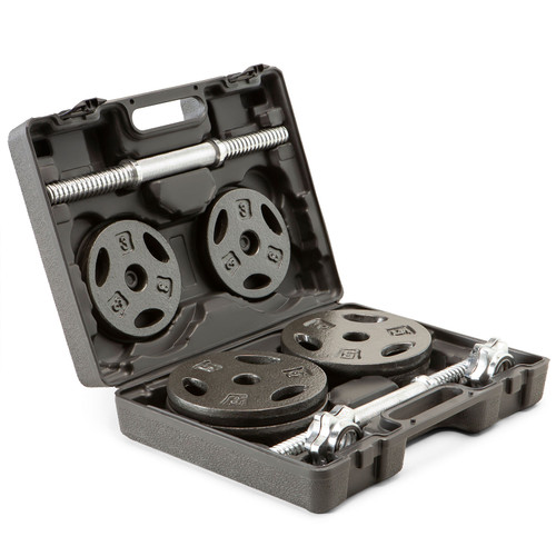 The Iron 40 Lb. Adjustable Dumbbell Set with Case - Inside case