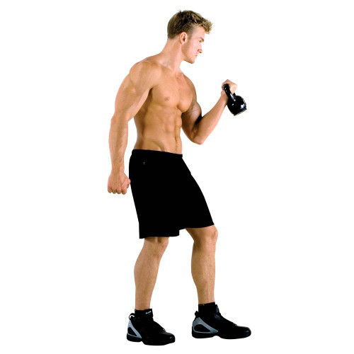 The 50 lbs. Kettle Bell Set by Marcy in use - HIIT Kettle Bell Curls for conditioning