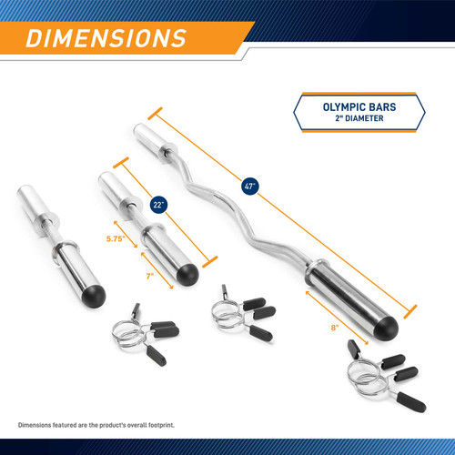The Olympic Curl Bar ODC-21 - Dimensions