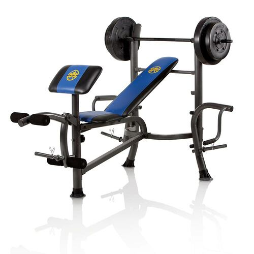 The Marcy Standard Bench w/ 80 lb. Weight Set MWB-36780B is a complete home gym in a single purchase