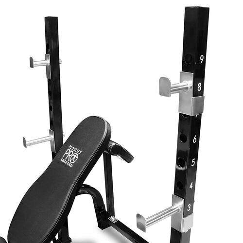 The Marcy Pro 2PC Olympic Bench | PM-842 has multiple bar catches to vary your HIIT