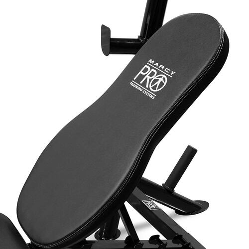 The Marcy Pro Mid Size Bench | PM-767 comes with comfortable padding for extended exercise regimens