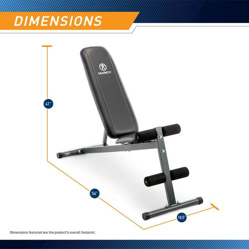 The Marcy Utility Bench SB-261W by Marcy is 41 inches tall, 54 inches long, and 18.5 inches wide
