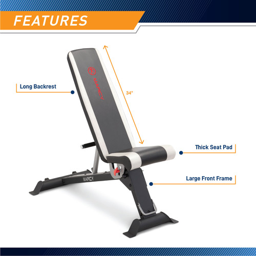 Adjustable Utility Bench  Marcy SB-670 - Infograpic - Pad Details