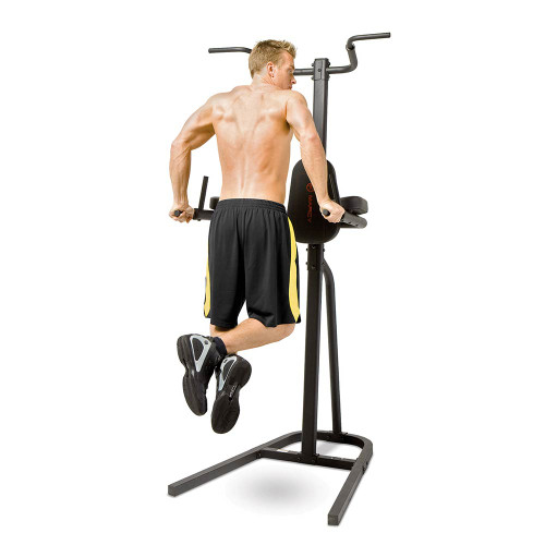 The Power Tower Fitness Station Dip, Chin-up, Pull-up Bar TC-1800 by Marcy in use - triceps dips