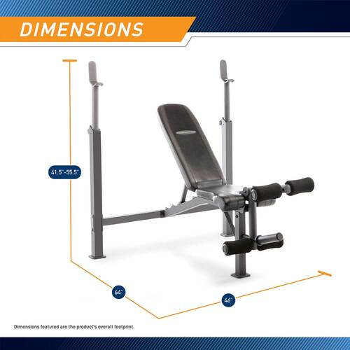 The Olympic Bench Competitor CB-729 is essential for creating the best home gym - Bench Dimensions Infographic