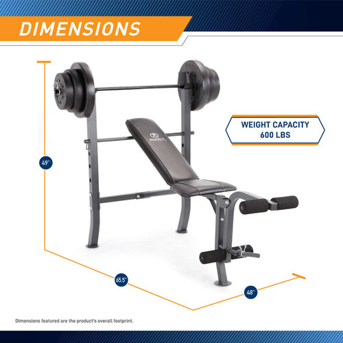 The Standard Bench with 100lb Weight Set Marcy Diamond Elite MD-2082W is 49 inches tall, 48 inches wide, and 65.5 inches long.