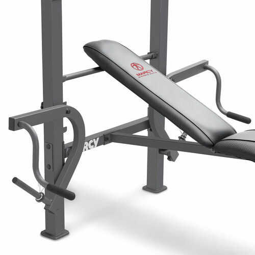 The Marcy Diamond Elite Standard Weight Bench MD-389 includes an adjustable preacher pad