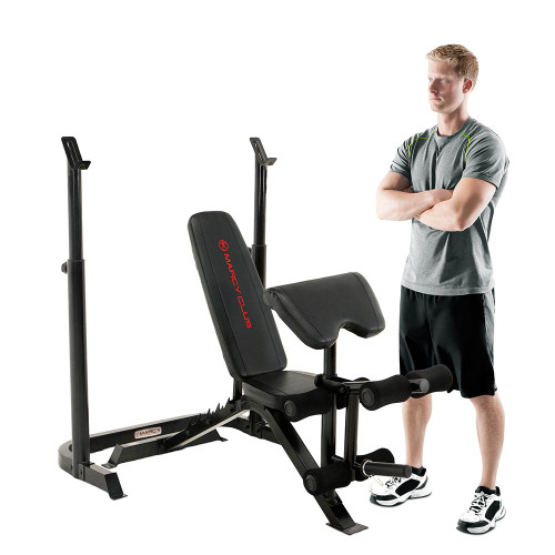 Model with the Marcy Club Deluxe Mid Size Bench MKB-869