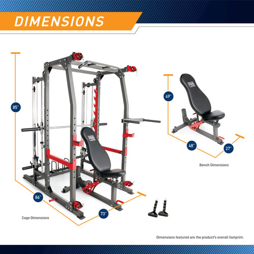 Marcy Pro Smith Cage Home Gym Training System | SM-4903 - Dimensions