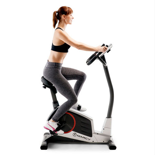 Model using the Regenerating Magnetic Upright Exercise Bike Marcy ME-702